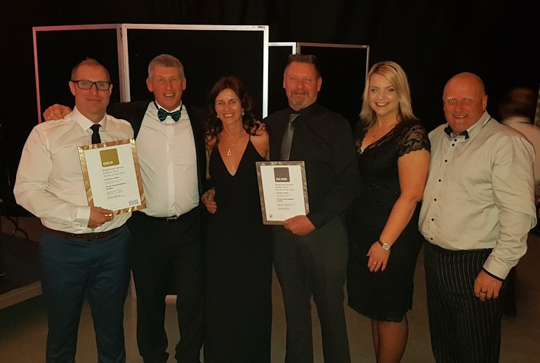 The team from Home Trends Builders at the 2016 House of the Year Awards after picking up Gold and Silver awards.